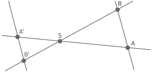 Strahlensatzfigur mit Geraden auf gegenüberliegenden Seiten des Scheitelpunktes