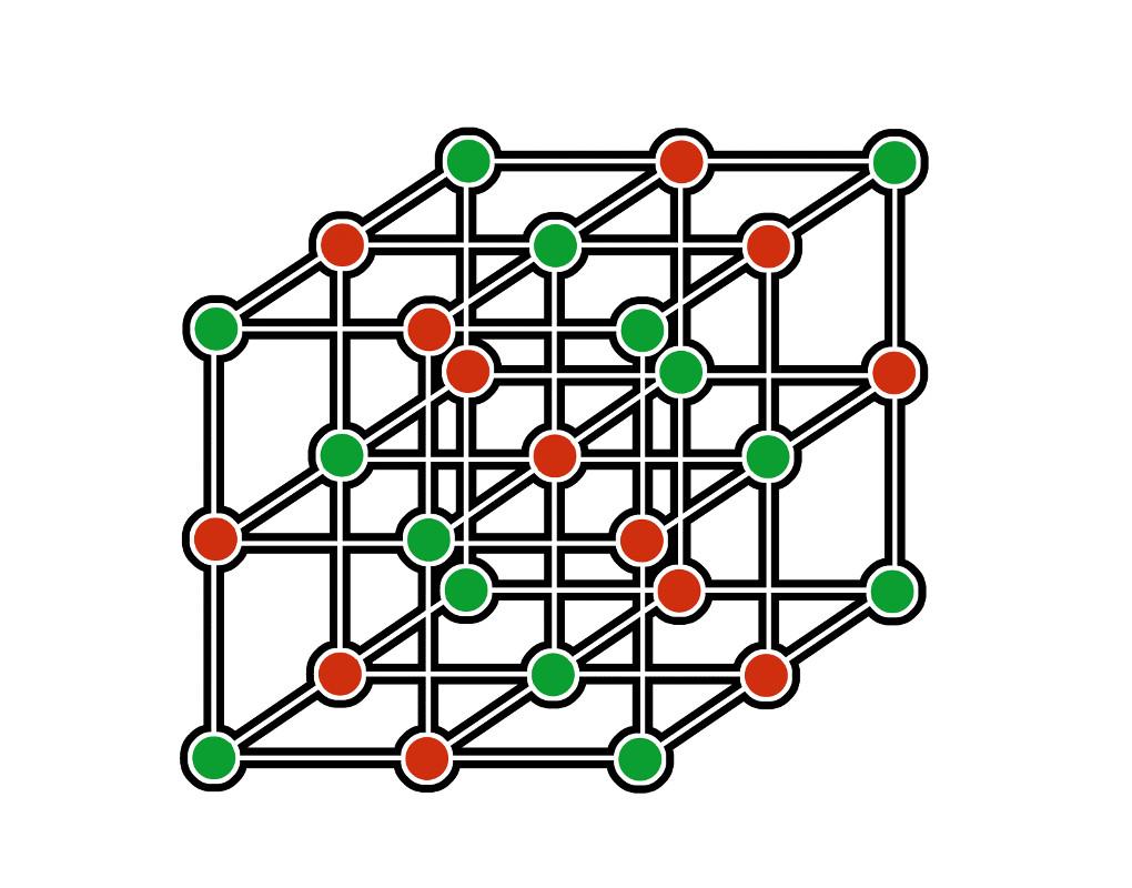 Ionen in einer Gitterstruktur angeordnet