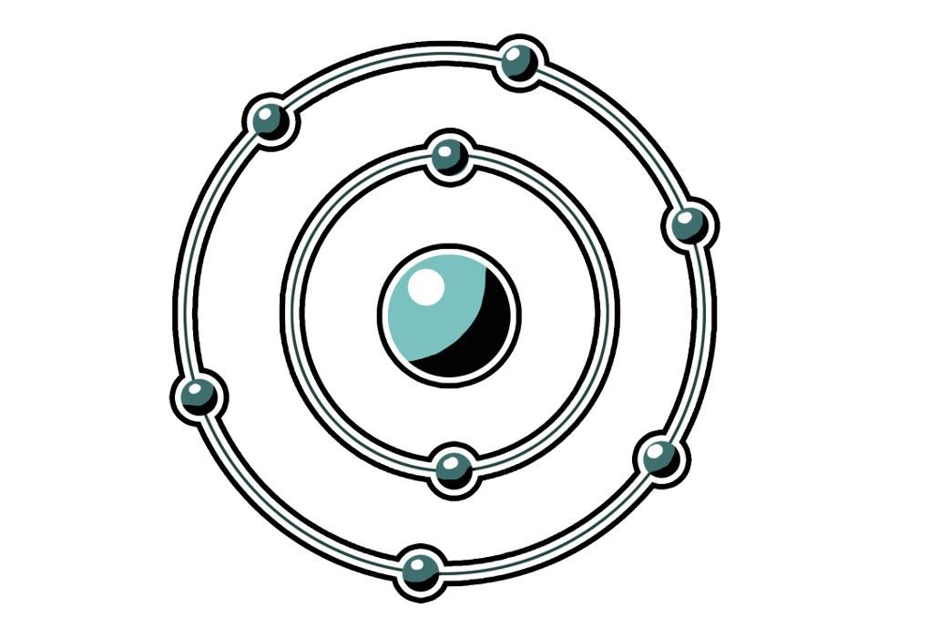 Atommodell eines Sauerstoffatoms