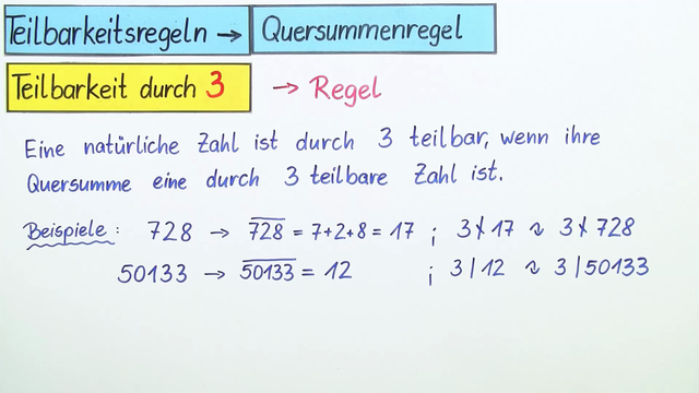 Teilbarkeitsregeln Teilbarkeit Durch 3 Mathematik