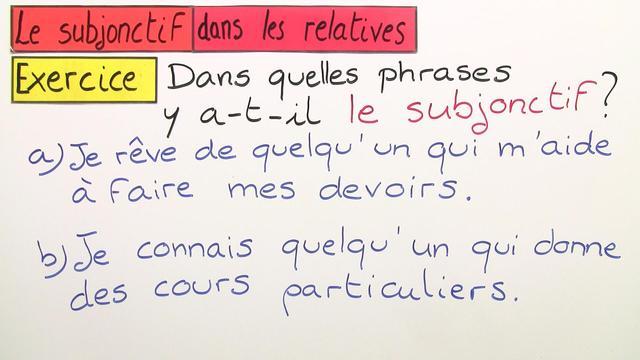 Subjonctif in Relativ- und Hauptsätzen (Übungsvideo)