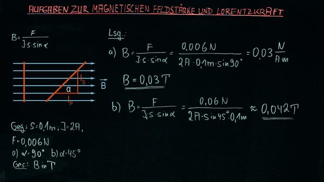 Aufgaben zur magnetischen Feldstärke und Lorentzkraft