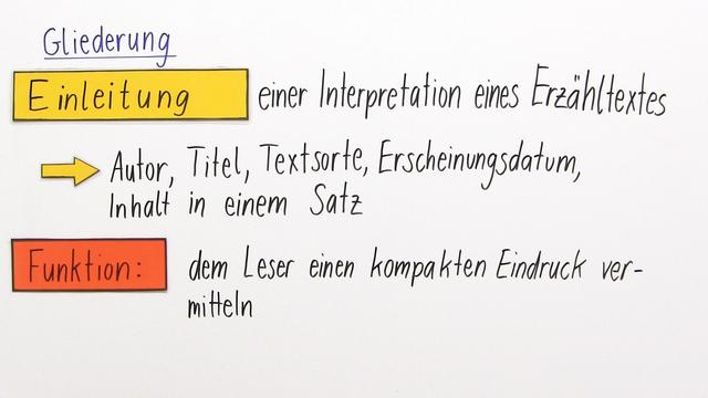 Einen Erzähltext interpretieren – Einleitung