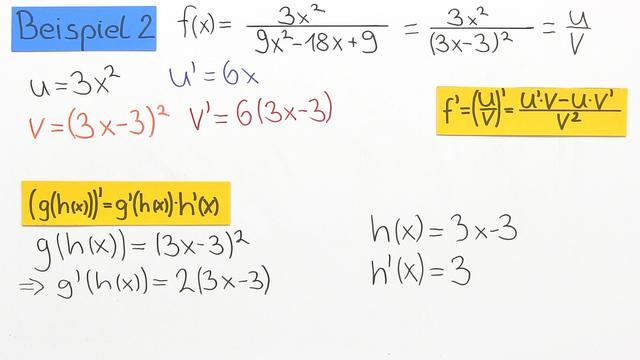 Quotientenregel – Beispiele mit gebrochenrationalen Funktionen