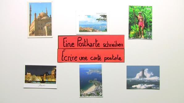 Eine postkarte schreiben