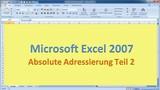 Lektion 10 Excel 2007 Absolute Adressierung Teil 2