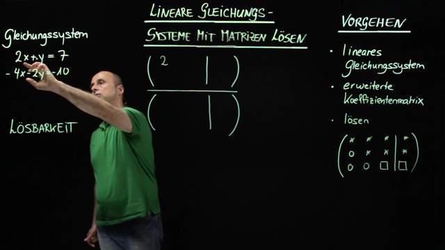 Mit Matrizen lineare Gleichungssysteme lösen – Beispiel