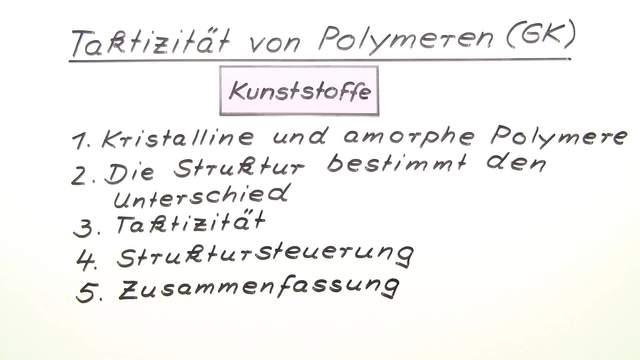 Taktizität von Polymeren