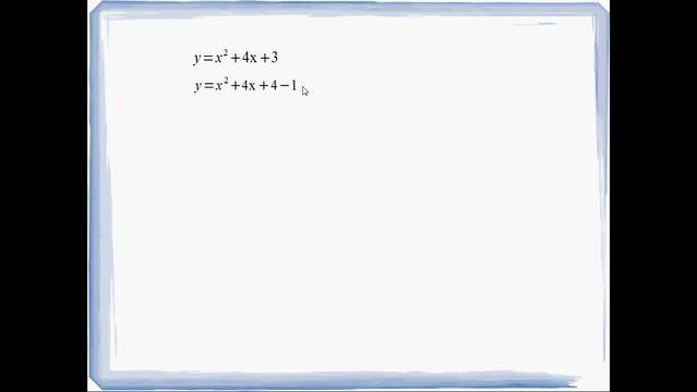 Quadratische Ergänzung – Beispiel y=x²+4x+3
