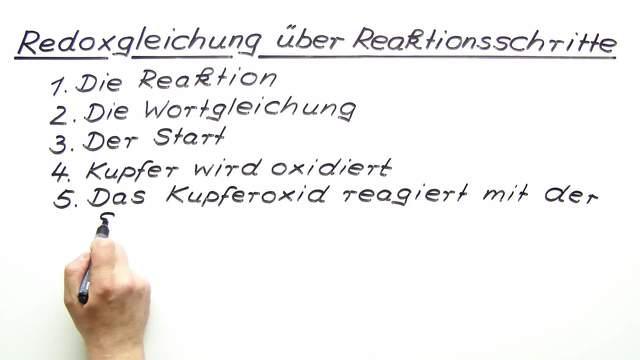 Redoxgleichung über Reaktionsschritte